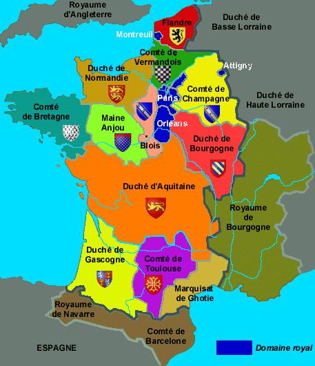 Carte des duchés sous Hugues CAPET 987-996