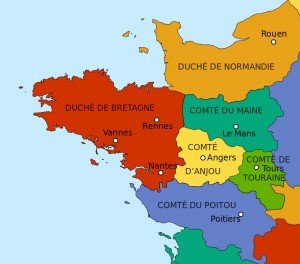 carte des duchés en 1154