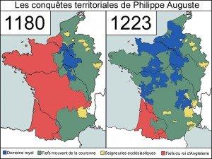 carte des duchés et comtés en 1180 et 1223 sous Philippe Auguste