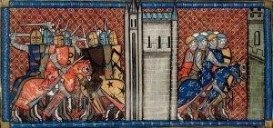 Bataille de la Roche aux Moines miniature du XiVe siècle