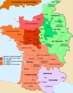 carte de L'anjou du Maine et de la Touraine en 1154 bis