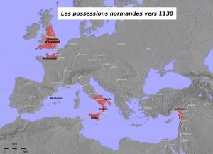 Carte des possessions normandes en 1130