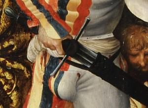 L'aiguillette au Moyen Age 05 sur des chausses à fond plein