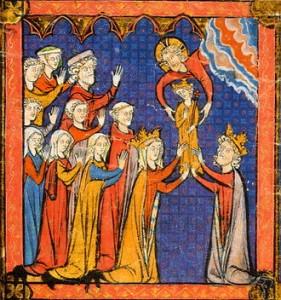 Philippe Dieudonné donné par dieu à ses parents - Grande chronique de France en 1270 - Bibli St Geneviève