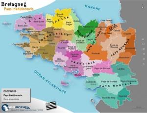 Carte des composantes et des pays des grands Comtés de Bretagne