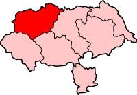 Localisation du Comté de Richmond en rouge dans le Yorshire du Nord