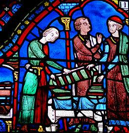 261px-Chartres_-_Vitrail_de_l'histoire_de_la_vie_de_saint_Jacques_le_Majeur_-_Drapiers